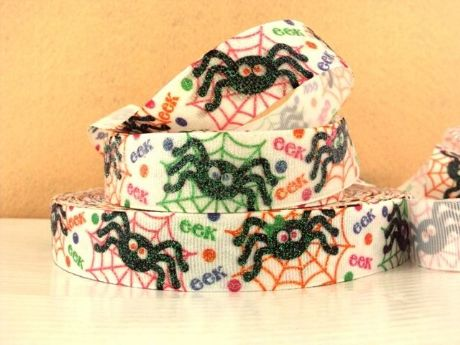 1 METRE GLITTER SPIDER RIBBON SIZE 7/8 PERFECT FOR HEADBANDS AND BOWS